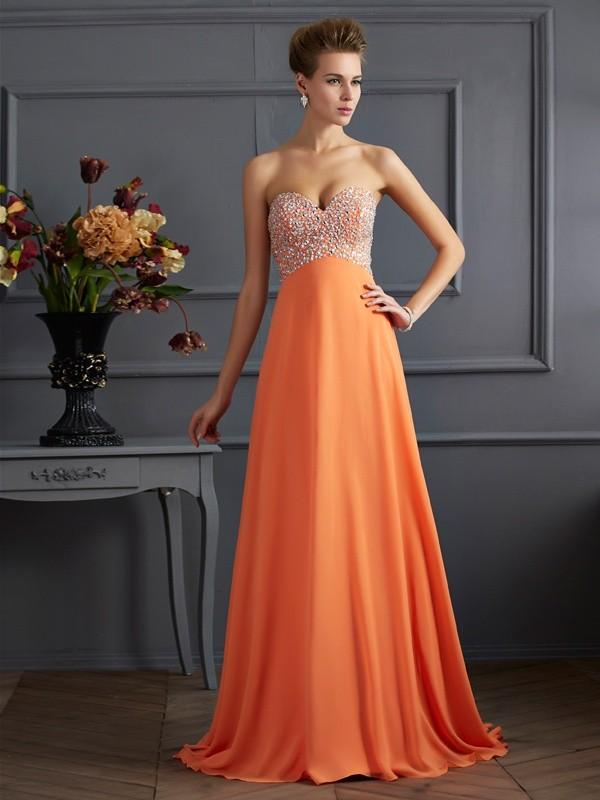 A-Linie/Princess-Linie Herzausschnitt Ärmellos Perlen verziert Lange Chiffon Kleider