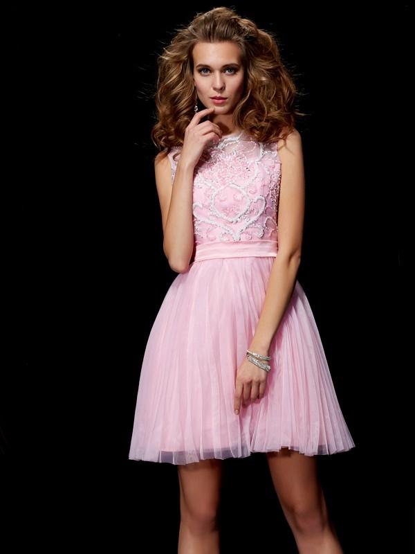 A-Linie/Princess-Linie U-Ausschnitt Perlen verziert Kurz Stretch-Satin Homecoming Kleider