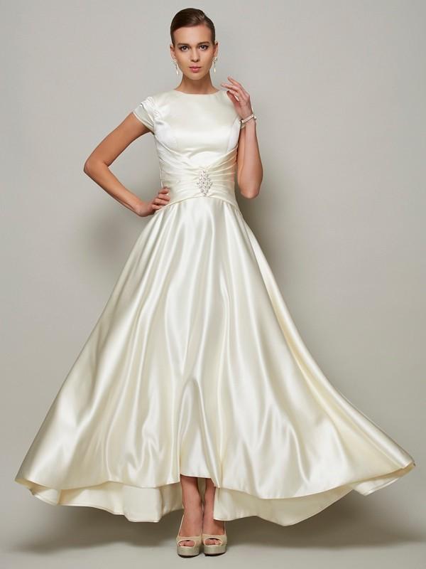 A-Linie/Princess-Linie U-Ausschnitt Kurze Ärmel Perlen verziert Lange Satin Brautmutterkleider