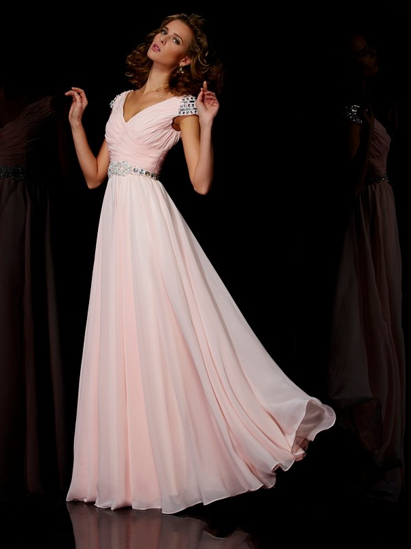 A-Linie/Princess-Linie V-Ausschnitt Kurze Ärmel Rüschen Lange Chiffon Kleider