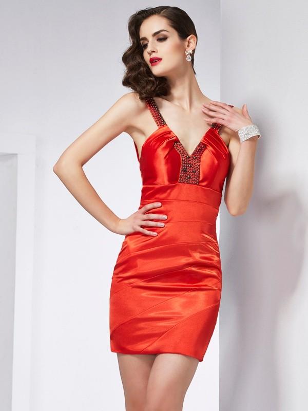 Etui-Linie V-Ausschnitt Ärmellos Perlen verziert Kurz Stretch-Satin Homecoming Kleider