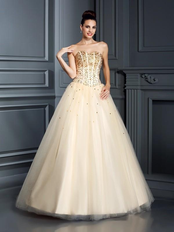 Duchesse-Linie Herzausschnitt Perlen verziert Ärmellos Lange Satin Quinceanera Kleider