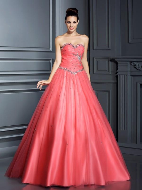 Duchesse-Linie Herzausschnitt Perlen verziert Ärmellos Lange Netz Quinceanera Kleider