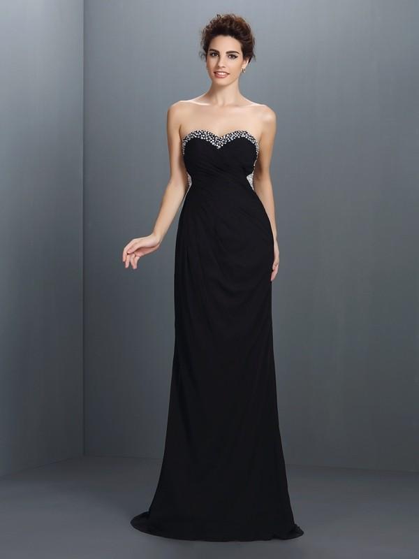 A-Linie/Princess-Linie Herzausschnitt Perlen verziert Ärmellos Lange Chiffon Kleider