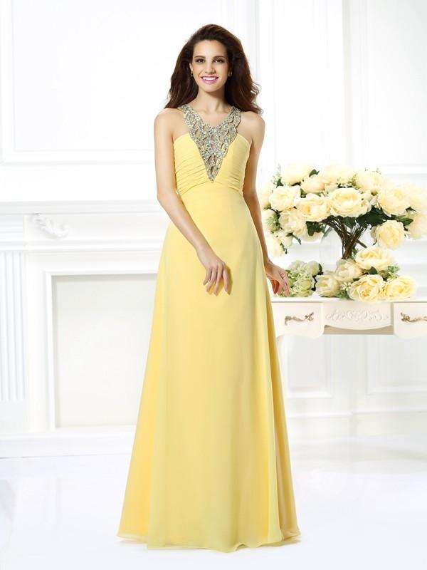 A-Linie/Princess-Linie V-Ausschnitt Perlen verziert Ärmellos Lange Chiffon Kleider