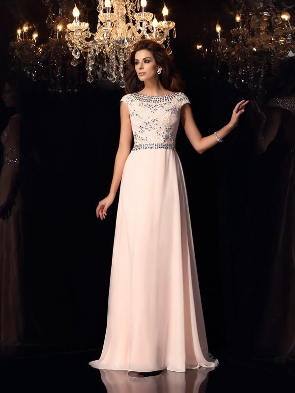 A-Linie/Princess-Linie Bateau-Ausschnitt Perlen verziert Kurze Ärmel Lange Chiffon Kleider