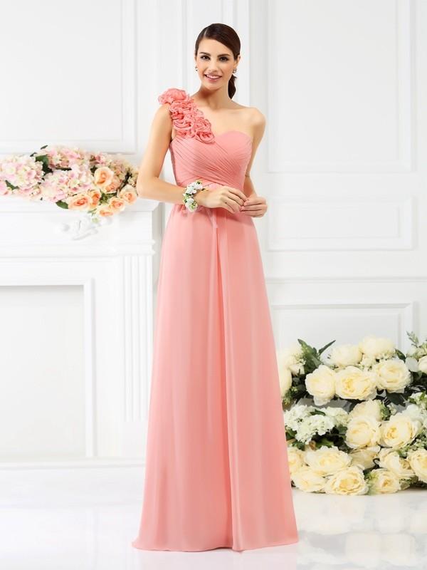 A-Linie/Princess-Linie One-Shoulder-Träger Handgemachte Blume Ärmellos Lange Chiffon Brautjungfernkleider