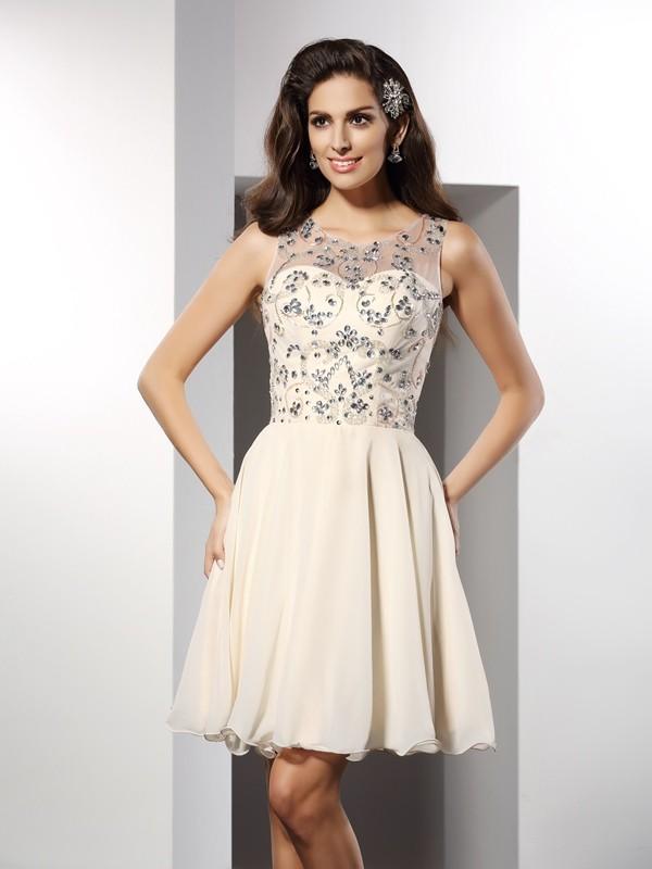 A-Linie/Princess-Linie Bateau-Ausschnitt Perlen verziert Ärmellos Kurz Chiffon Cocktail Kleider