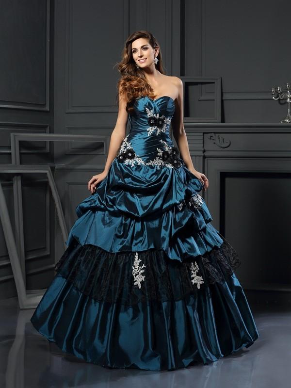 Duchesse-Linie Herzausschnitt Perlen verziert Ärmellos Lange Taft Quinceanera Kleider