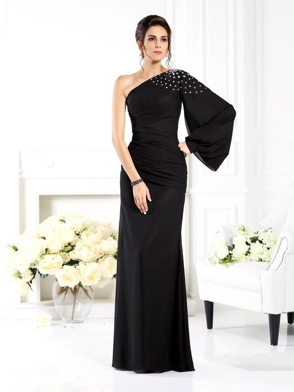 Etui-Linie One-Shoulder-Träger Perlen verziert Lange Ärmel Lange Chiffon Brautmutterkleider