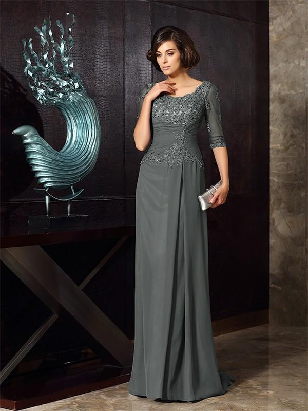A-Linie/Princess-Linie U-Ausschnitt Perlen verziert 1/2 Ärmel Lange Chiffon Brautmutterkleider