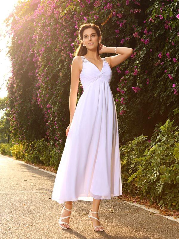 A-Linie/Princess-Linie V-Ausschnitt Perlen verziert Ärmellos Lange Chiffon Brautkleider