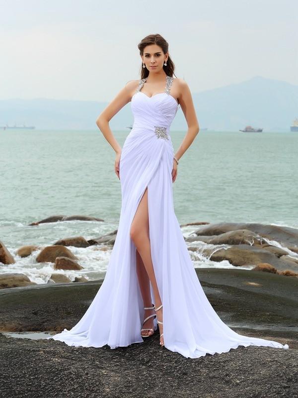 Etui-Linie Träger Perlen verziert Ärmellos Lange Chiffon Strand Brautkleider