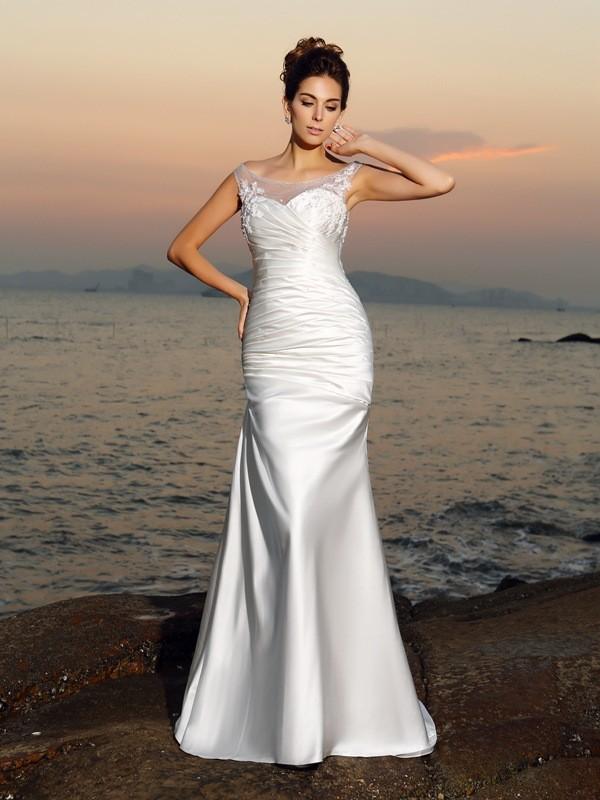Trompete/Meerjungfrau-Linie U-Ausschnitt Perlen verziert Ärmellos Lange Satin Strand Brautkleider