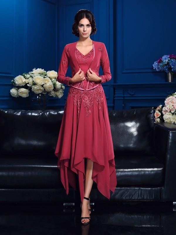 A-Linie/Princess-Linie V-Ausschnitt Applikationen Ärmellos Hoch Niedrig Chiffon Brautmutterkleider