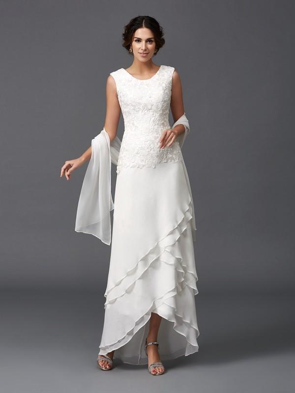 A-Linie/Princess-Linie U-Ausschnitt Spitze Ärmellos Lange Chiffon Brautmutterkleider