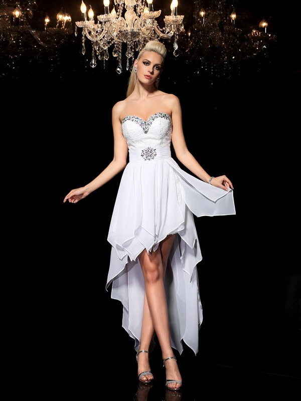 A-Linie/Princess-Linie Herzausschnitt Perlen verziert Ärmellos Hoch Niedrig Chiffon Cocktail Kleider