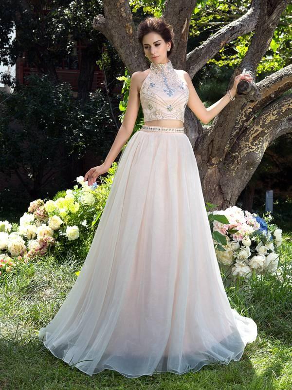 A-Linie/Princess-Linie Stehkragen Perlen verziert Ärmellos Lange Netz Zweiteilige Kleider