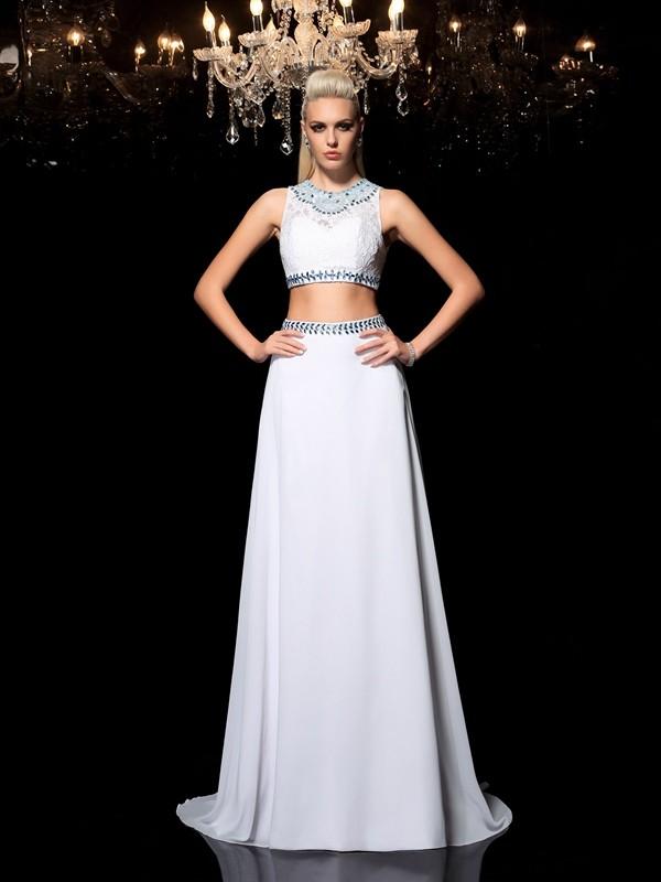 A-Linie/Princess-Linie Juwel-Ausschnitt Perlen verziert Ärmellos Lange Chiffon Zweiteilige Kleider