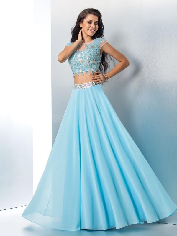 A-Linie/Princess-Linie Sheer Neck Applikationen Kurze Ärmel Lange Chiffon Zweiteilige Kleider