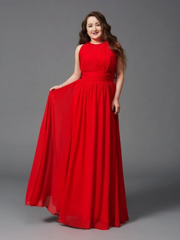 A-Linie/Princess-Linie Juwel-Ausschnitt Rüschen Ärmellos Lange Chiffon Übergrößen Kleider