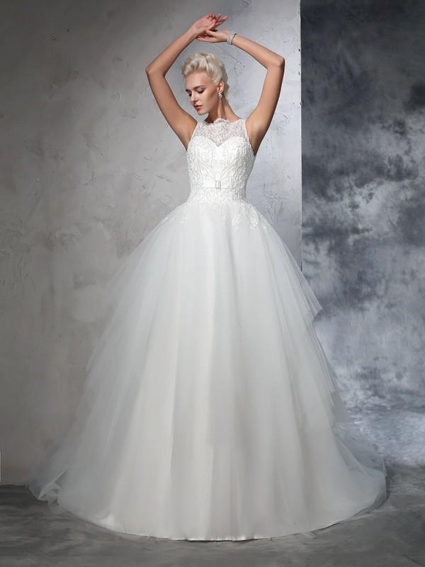 Duchesse-Linie Bateau-Ausschnitt Applikationen Ärmellos Lange Netz Brautkleider