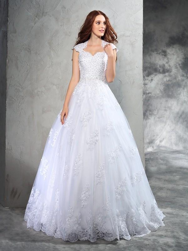 Duchesse-Linie Herzausschnitt Spitze Ärmellos Lange Organza Brautkleider