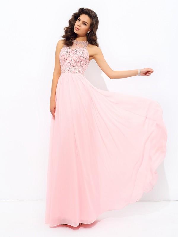 A-Linie/Princess-Linie Juwel-Ausschnitt Perlen verziert Ärmellos Lange Chiffon Kleider