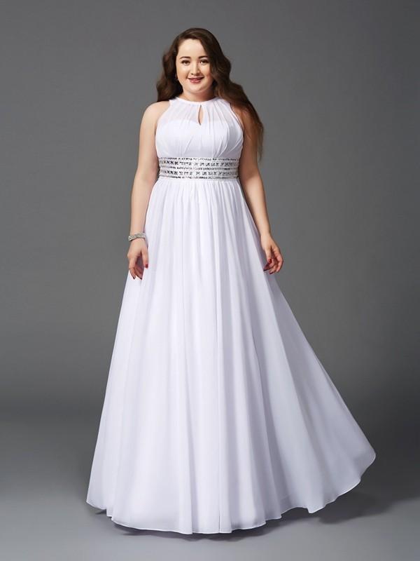 A-Linie/Princess-Linie Juwel-Ausschnitt Perlen verziert Ärmellos Lange Chiffon Übergrößen Kleider