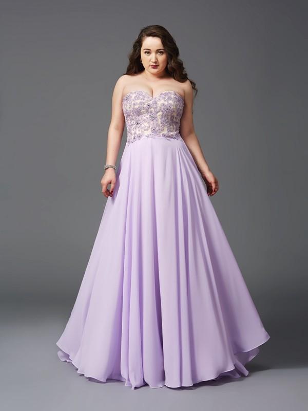 A-Linie/Princess-Linie Herzausschnitt Spitze Ärmellos Lange Chiffon Übergrößen Kleider