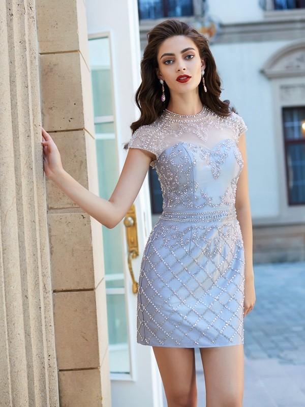 Etui-Linie Juwel-Ausschnitt Kurze Ärmel Perlen verziert Satin Kurz/Mini Kleider