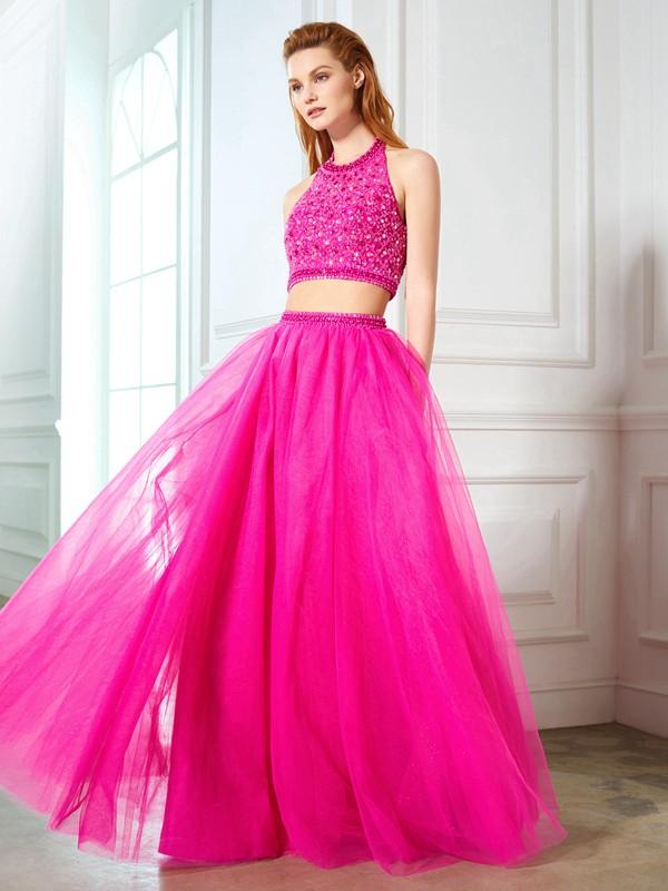 A-Linie/Princess-Stil Neckholder Perlenstickerei Ärmellos Netz Bodenlang Zwei Stück Kleider
