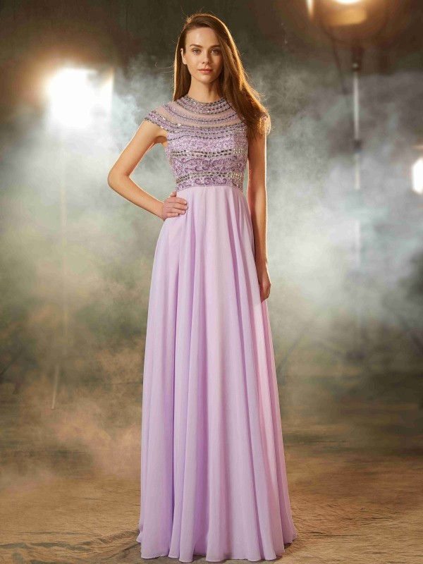 A-Linie/Princess-Stil U-Ausschnitt Kurze Ärmel Bodenlang Perlenstickerei Chiffon Kleider