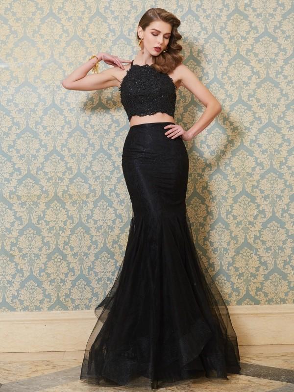Meerjungfrau-Linie/Mermaid-Stil Spaghettiträger Ärmellos Applikation Bodenlang Tülle Zwei Stück Kleider