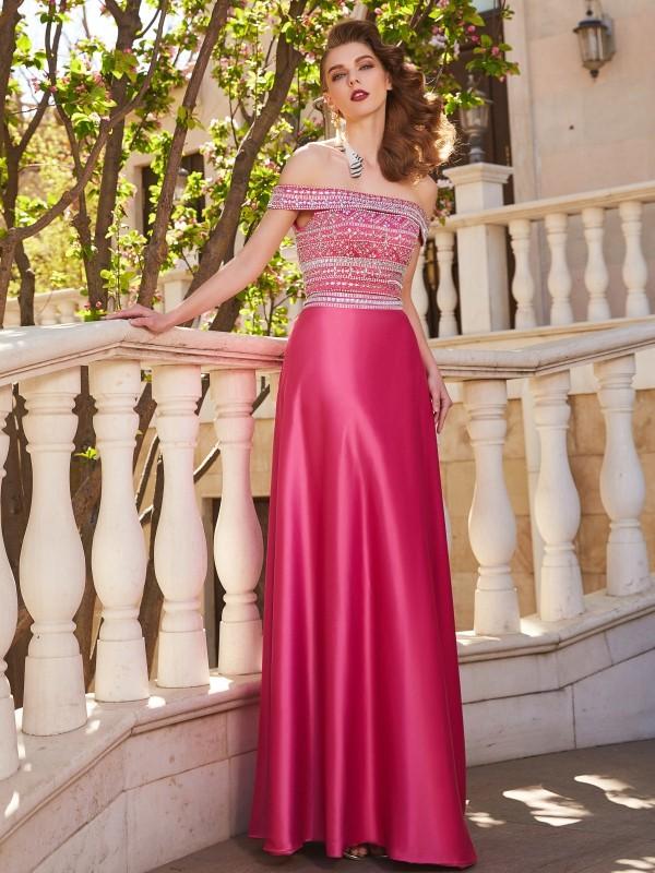 A-Linie/Princess-Stil Carmen-Ausschnitt Perlenstickerei Ärmellos Satin Bodenlang Zwei Stück Kleider