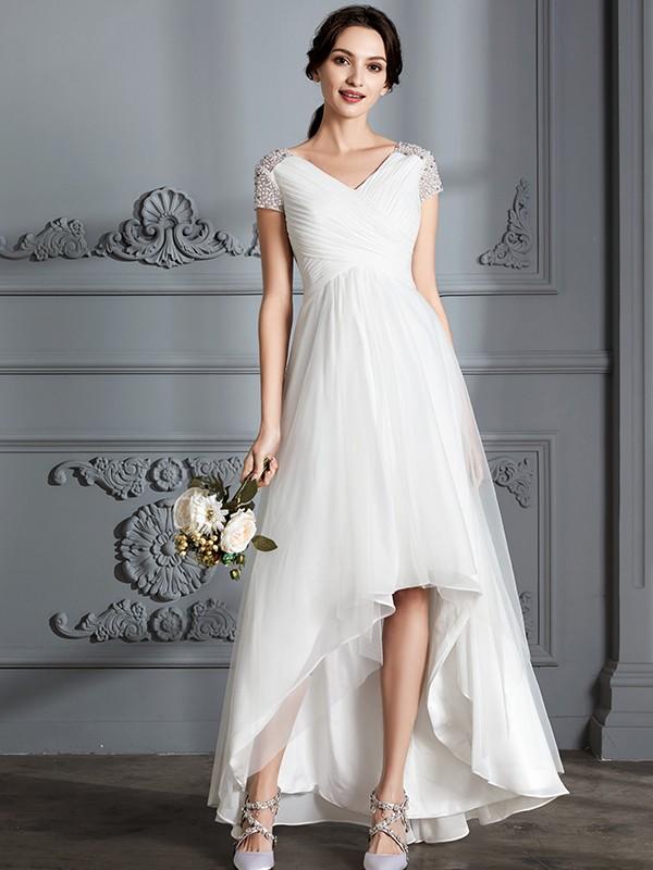 A-Linie/Princess-Linie V-Ausschnitt Kurze Ärmel Asymmetrisch Tüll Brautkleider
