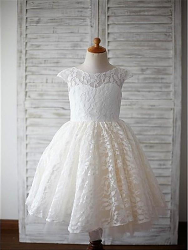 A-Linie/Princess-Stil U-Ausschnitt Kurze Ärmel Wadenlang Spitze Blumenmädchenkleider