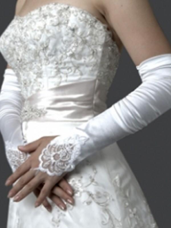 Elastic Satin Stickereien Elbow Gloves