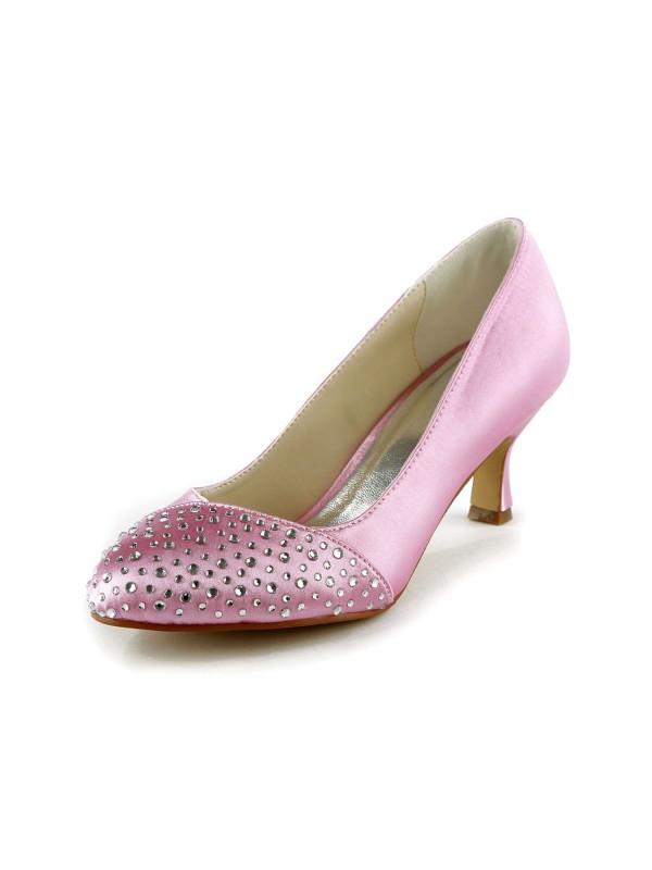 Women's Fashion Satin Stiletto Heel Closed Toe With Strasssteine Pink Hochzeitsschuhe
