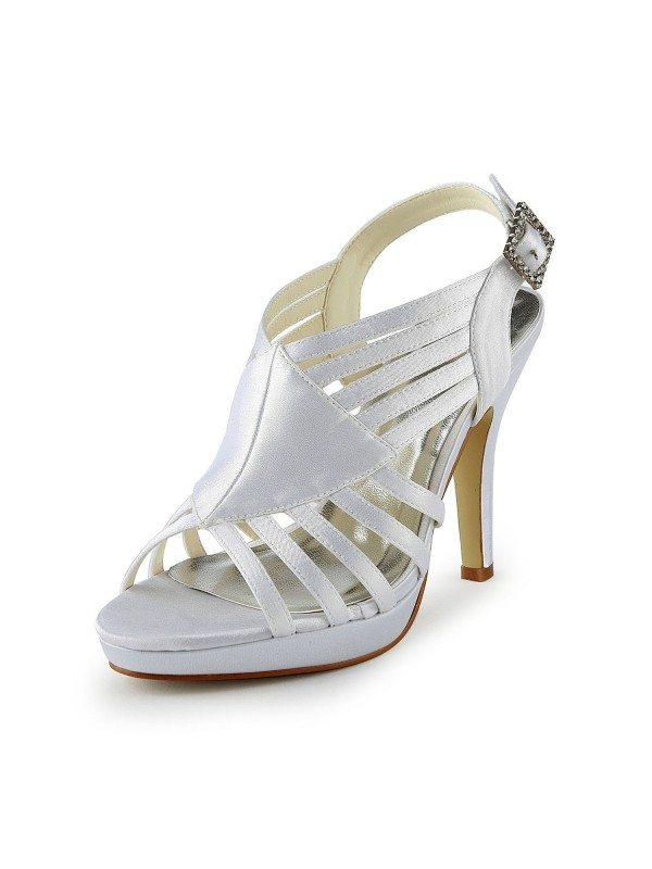 Women's Gorgeous Satin Stiletto Heel Sandalen With Buckle White Hochzeitsschuhe