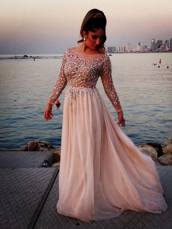 Lange Ärmel A-Linie/Princess-Stil Bateau-kragen Perlenstickerei Sweep/Pinsel zug Chiffon Dress