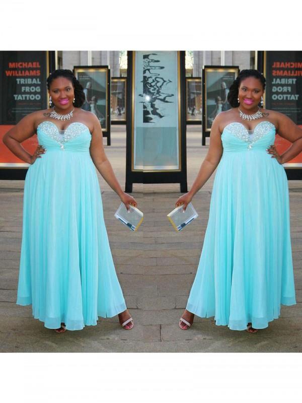 A-Linie/Princess-Linie Herzausschnitt Ärmellos Perlen verziert Bodenlang Chiffon Übergröße Kleider