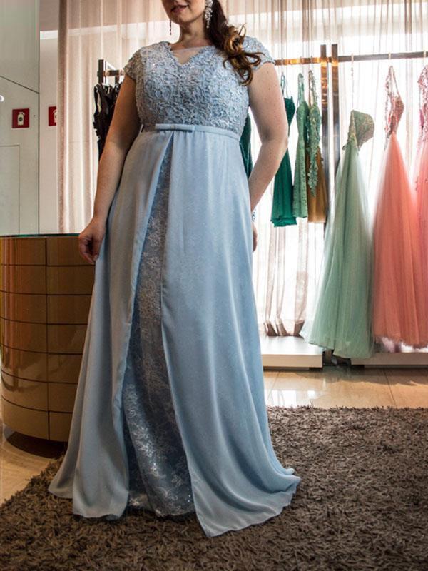 A-Linie/Princess-Linie U-Ausschnitt Kurze Ärmel Spitze Bodenlang Chiffon Übergröße Kleider
