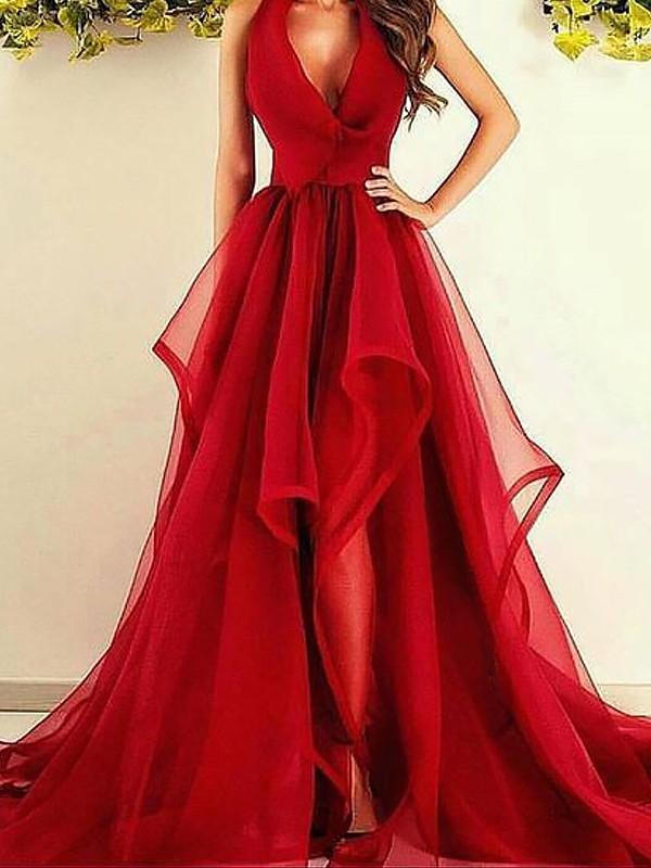 A-Linie/Princess-Linie V-Ausschnitt Ärmellos Asymmetrisch Rüschen Organza Kleider