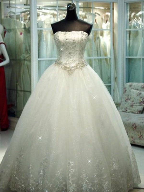 Duchesse-Linie Trägerlos Perlen verziert Tüll Ärmellos Bodenlang Brautkleider