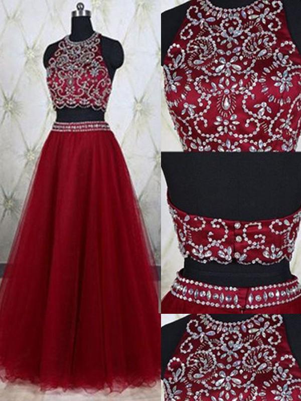 A-Linie/Princess-Stil Ärmellos Juwel-Ausschnitt Tülle Perlenstickerei Bodenlang Zwei Stück Kleider