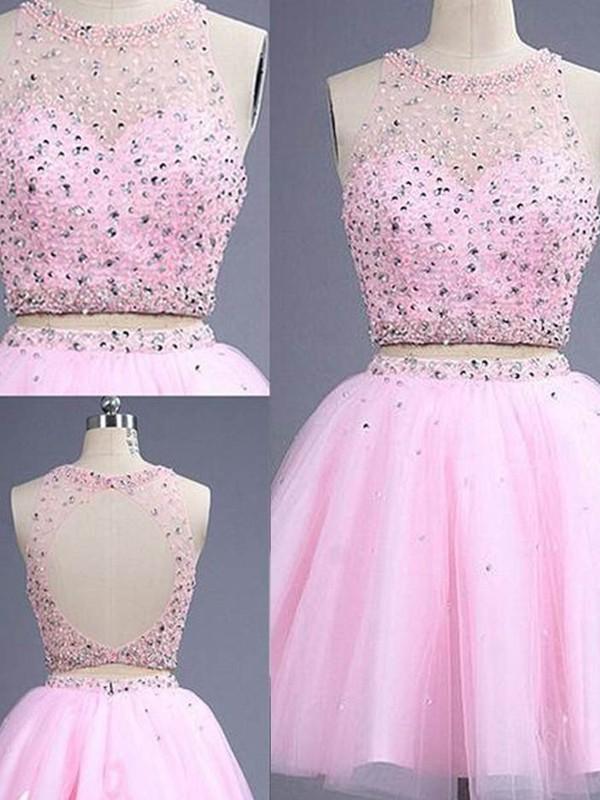 A-Linie/Princess-Stil Ärmellos U-Ausschnitt Kurz/Mini Perlenstickerei Tülle Zwei Stück Kleider