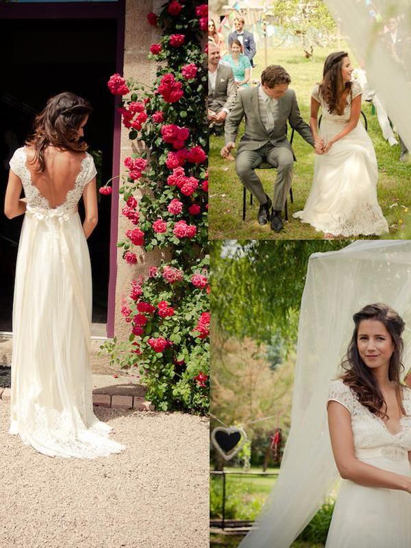 A-Linie/Princess-Stil V-Ausschnitt Sweep/Pinsel Zug Ärmellos Perlenstickerei Tülle Brautkleider