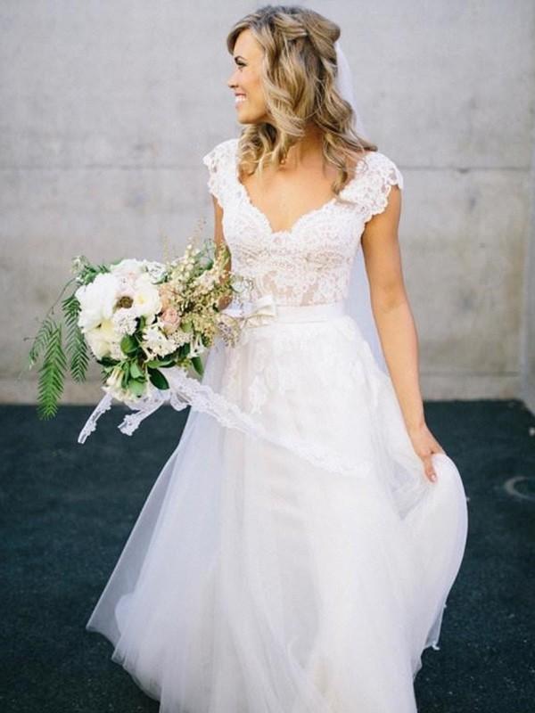A-Linie/Princess-Stil V-Ausschnitt Bodenlang Ärmellos Spitze Tülle Brautkleider