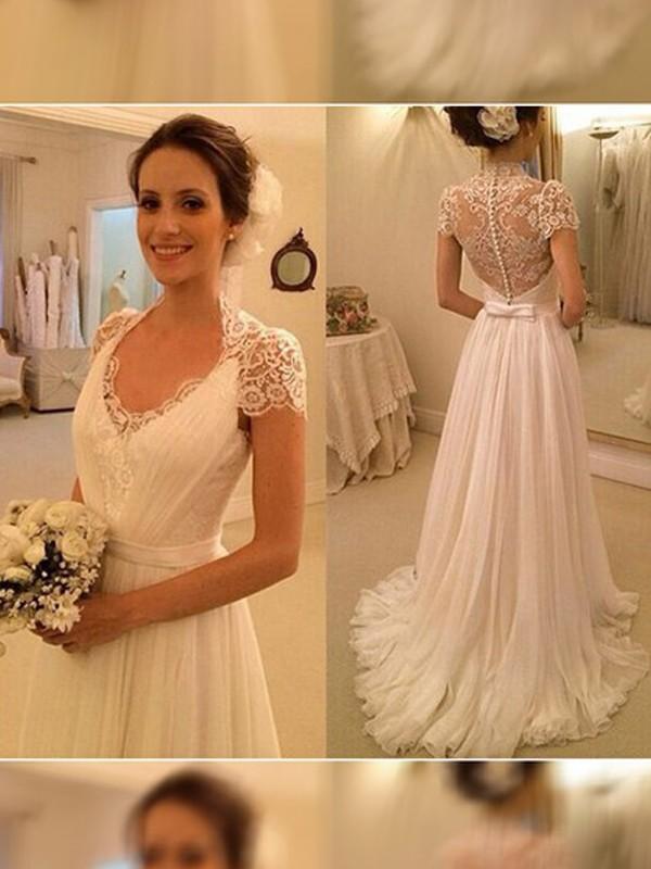 A-Linie/Princess-Stil V-Ausschnitt Sweep/Pinsel Zug Ärmellos Spitze Chiffon Brautkleider